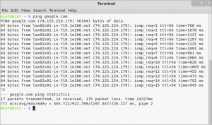 pinging google in linux mint 12